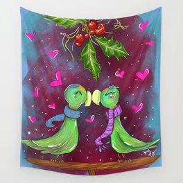 Xmas Lovebirds Wall Tapestry