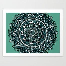 Teal Mandala Art Print