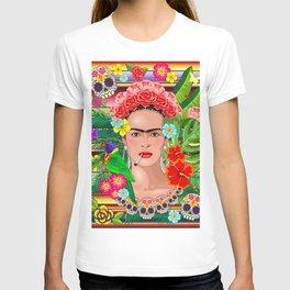 Frida Kahlo Floral Exotic Portrait T-shirt