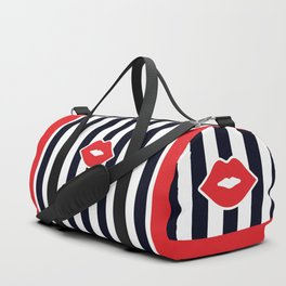 Red Lips with Stripes Duffle Bag