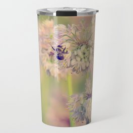 AUGUST LIGHT soft pink pastel golden hour light bee and meadow flower Travel Mug