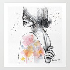 Implosion, watercolor with ink Art Print