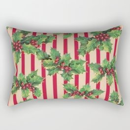 Holly with stripped vintage paper Rectangular Pillow