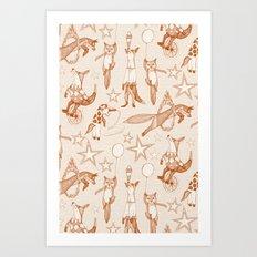 foxy circus rust ivory Art Print