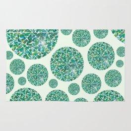 Green round Gem Pattern Rug
