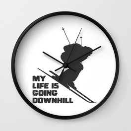ski snow winter gift skiing winter sports skier Wall Clock