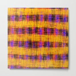 plaid pattern abstract texture in orange yellow pink purple Metal Print
