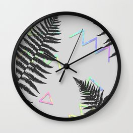 Holographic Fern Pattern 01 Wall Clock