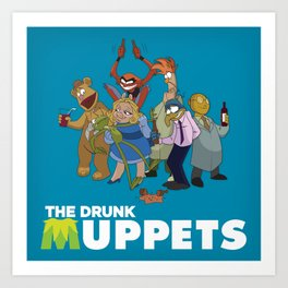Drunk Muppets Cartoon Parody Art Print