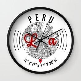 Lima, PERU Road Map Art - Earth Tones Wall Clock