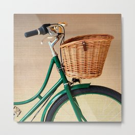 Vintage green bicycle with basket and textured background  Metal Print