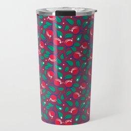 Cranberries pattern (on dark red background) Travel Mug