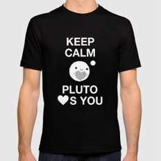 Keep Calm – Pluto Loves You Mens Fitted Tee MEDIUM Black