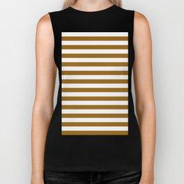 Narrow Horizontal Stripes - White and Golden Brown Biker Tank