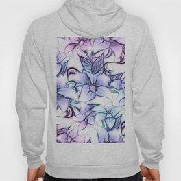 Violet pink teal hand painted sketch elegant floral Hoody