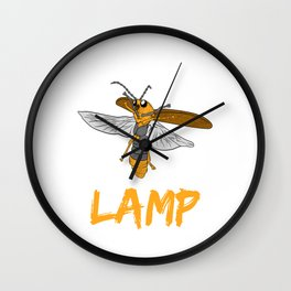 "Perfect Gift For Insects Fans Saying ""I Love Lamp"" T-shirt Design Firefly Bee Stripe Black Yellow  Wall Clock"
