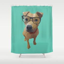 Kane the Staffie Dog Polygon Art Shower Curtain