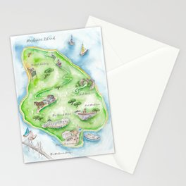 Mackinac Island Watercolor Map Stationery Cards