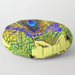 FANTASY PURPLE MONARCH BUTTERFLY PEACOCK FEATHER Floor Pillow