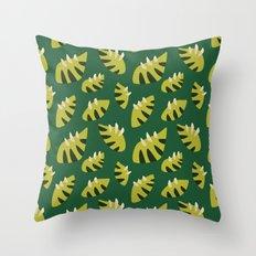 Pretty Clawed Green Leaf Pattern Throw Pillow