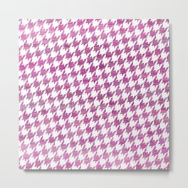 Pink Houndstooth pattern Metal Print