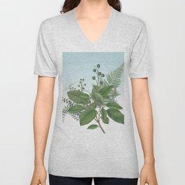 Botanical Leaves and Ferns Digital Collage of Vintage Elements Unisex V-Neck