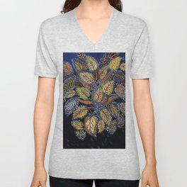 Blue Leaves of Autumn by Seraphine Louis Unisex V-Neck