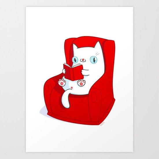 Kitty Loves Reading Art Print