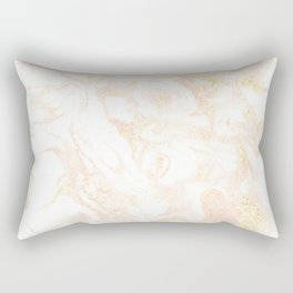 White Marble Pastel Pink and Gold by Nature Magick Rectangular Pillow