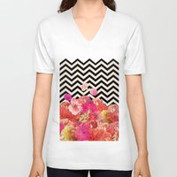 john V-neck T-shirts featuring Chevron Flora II by Bianca Green