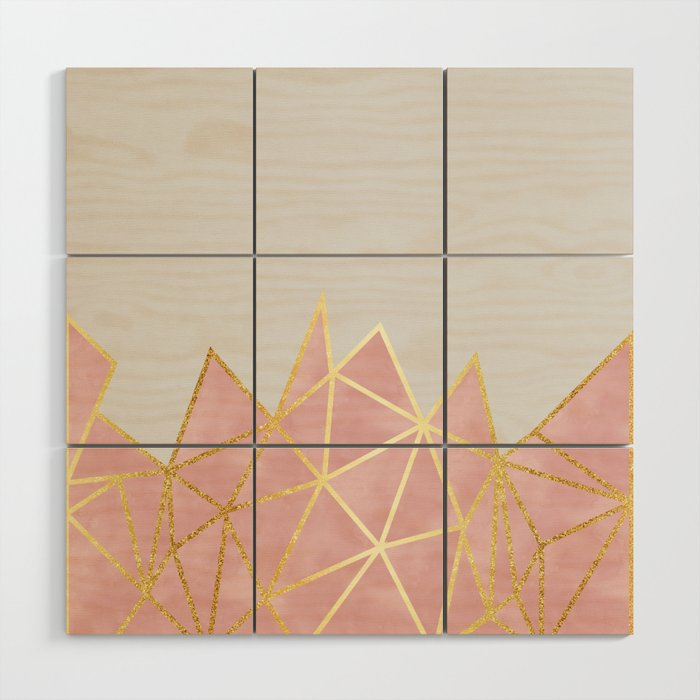 Pink Gold Geometric Wood Wall Art By Tanyalegere