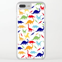 Colorful Dinosaurs Pattern Clear iPhone Case