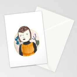 unknown portrait with random botanicals Stationery Cards