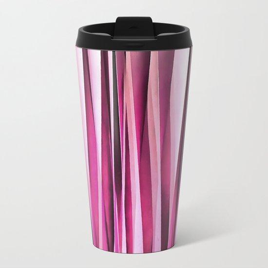 Rose Wine and Burgundy Stripy Lines Pattern Metal Travel Mug