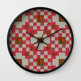project for a quilt red and beige with floral patterns Wall Clock