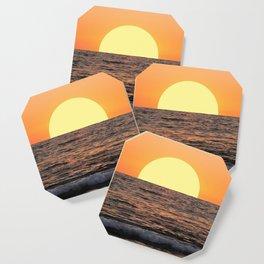 Fiery Ocean Sunset Coaster
