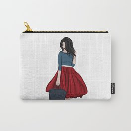 Romantic look, girl in red skirt Carry-All Pouch