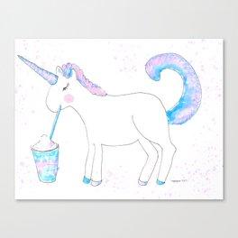Ms Unicorn Sips A Frappuccino Canvas Print