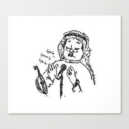 Abu Baker Salim Fan Art sketch black and white lines Oud أبوبكر سالم ما علينا Canvas Print