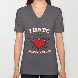 I hate Valentines Day Unisex V-Neck