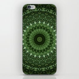 Mandala in olive green tones iPhone Skin
