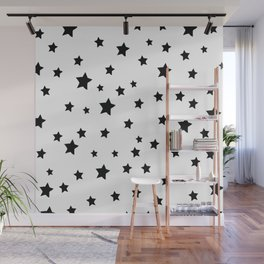 Black and White Stars Wall Mural