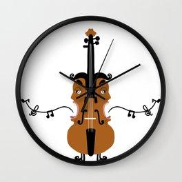 Violin, singing faces, original artwork Wall Clock