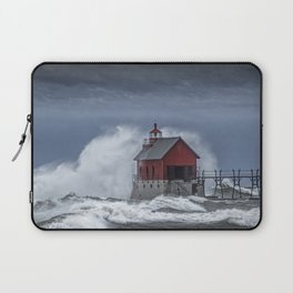 Grand Haven Lighthouse in a November Storm on Lake Michigan Laptop Sleeve