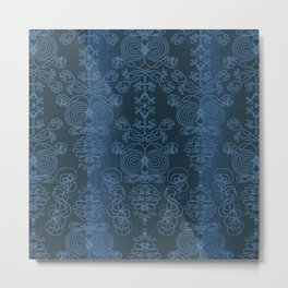 Elena, dark imperial blue ornate Metal Print
