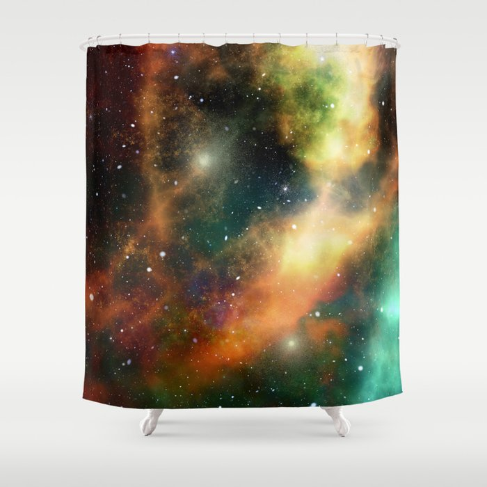 Teal orange gold universe galaxy nebula Shower Curtain