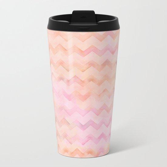 Watercolor Chevron stripes in soft pastels Metal Travel Mug
