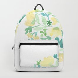 Yellow and Blue Floral Circle Backpack