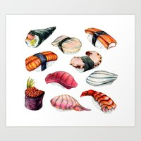 sushi Art Prints featuring Sushi by BigRedSharks