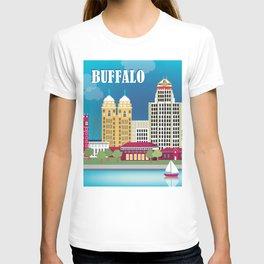 Buffalo, New York - Skyline Illustration by Loose Petals T-shirt